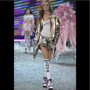 Victoria's Secret Pink gold metallic bomber jacket